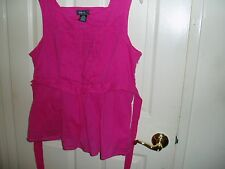 GEORGE M Eisen Pink Sleeveless Top Blouse XL 16 18 Pleated Front Layered  $0 S/H