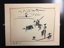 Original Picasso Lithograph La Pique Los Toros 1961 Mourlot 346 On Wove Paper