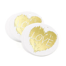 Brush Of Love White with Gold Foil Wedding Favor Tags 25/pk