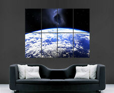SPACE EARTH POSTER METEORITE FALLING TO EARTH PLANET ART SCIENCE PRINT LARGE