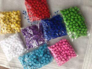 Glitter Tinsel Pom Poms 8/15 mm Christmas Pompoms - Packs of 144/100