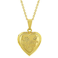 Gold Tone Small Heart Photo Locket I Love You Womens Necklace Pendant 19""