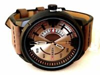 Men's Fashion Watch with Date M8298 Brown Leather Band Water Resistant 1 ATM
