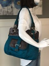 FOSSIL KEY-PER Large Teal Quilted Nylon Brown Leather Trim Hobo Shoulder Bag