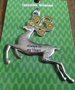 "Christmas Deer Silver Ornament by Ganz ""Always in my Heart"" Collectable New"