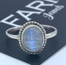 Designer 925 Sterling Silver Ladies Moonstone Oval Stone Gemstone Ring Gift