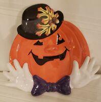 Fitz & Floyd Fall Halloween Derby Pumpkins Canape' Plate Bow Tie Purple GLOVES