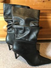Hush Puppies Ladies Size 6 Black Stiletto Heeled Boots Mid Calf Faux Leather