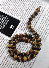 "Vintage Art Deco Natural Tiger's Eyes Beads Necklace 16"""