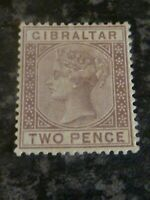 GIBRALTAR POSTAGE STAMP SG10 TWO PENCE LIGHTLY MOUNTED MINT
