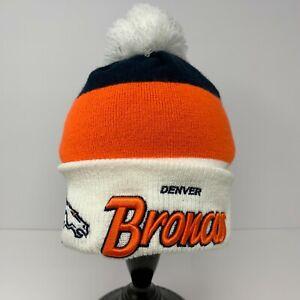 Denver Broncos Embroidered Beanie Orange & Blue Cursive New Era Hat with Pom EUC