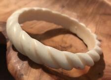 Vintage Cream White plastic bangle bracelet Rope Pattern