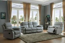 Grey High Grade Leather 3 Seater + 2 Armchairs Reclining Recliner Suite CHICAGO