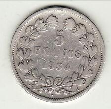 LOUIS PHILIPPE peu commune 5 FRANCS ARGENT 1834 I