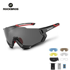 RockBros Polarized Cycling Glasses Half Frame Sports Sunglasses Goggles Black