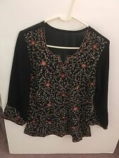 Tunic Kurta Boho Indian Long Sleeve Embroidery Sequins Chiffon Size M