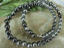 8 mm Bicolor Edelstahl Silber Hämatit Magnet Halskette 45 cm m.Magnetverschluss