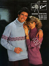"Emu 4852 DK 32-40"" His & Hers Sweaters - Men's/Ladies Knitting Pattern"