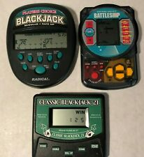 Lot of 3 Tested Hand Held Electronic Games Radica Black Jack Battleship Milton