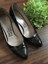 Salvatore Ferragamo Brown Patent Leather High Heel Pumps Size 6B Made In Italy