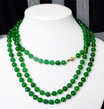 Beautiful 8mm Natural Green Jade Round Gem Bead Necklace 54''