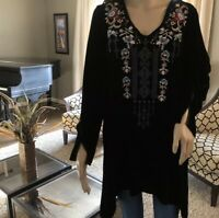 NEW JOHNNY WAS VELVET SILK EMBROIDERED TUNIC BLOUSE TOP PEASANT BOHO SMALL $268