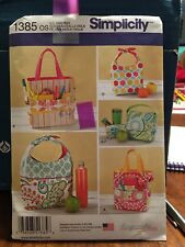 NEW Simplicity Sewing Pattern 1385 LUNCH BAG ART CRAFT TOTE Snack Handbag