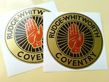 RUDGE WHITWORTH Gold Vintage Classic Car Helmet Motorcycle Stickers 2 off 80mm