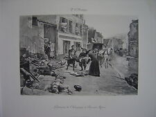 Estampe originale Paul Emile BOUTIGNY Lendemain de Champigny à Bry Sur Marne