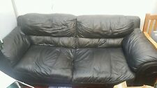 6*MONTHS*OLD*3*SEATER*BLACK*LEATHER*SETTEE*SOFA*COUCH*+MATCHING*2*SEATER*AVAILAB