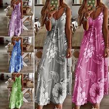 Women Casual Slim Maxi Dress Summer V Neck Party Beach Long Dress Sundress Boho