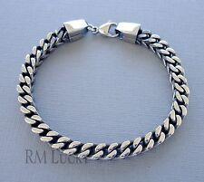 "Men 316 Stainless Steel Bracelet Foxtail  Chain Antique Silver 6mm 8.5"" b3"