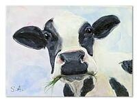 print set 3 Cows Munching ACEO animal pet painting miniature art nature
