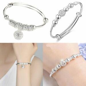 925 Sterling Silver Fashion Bangle Bracelet Women Lady Girl Charm Jewellery Gift