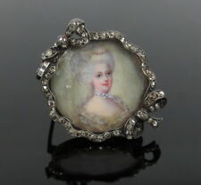 Antique Edwardian 1.25ct Rose Cut Diamond Silver & Gold Painted Portrait Brooch