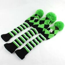 Green Set of 3 1# 3# 5# Pom Pom Knitted Golf Club Head Cover For Driver Fairway