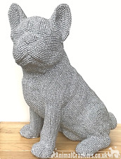 More details for extra large silver glittter diamante french bulldog ornament frenchie lover gift