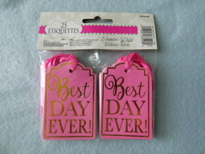 25 Pink BEST DAY EVER Tags Wedding / Shower ~ NEW ~ Fast Shipping!