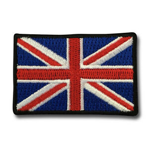 """Embroidered Small 2"""" British UK Flag Union Jack Iron on Patch Biker Patch"""