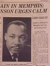 VINTAGE NEWSPAPER HEADLINE ~CRIME DR. MARTIN LUTHER KING MLK DEAD SHOT KILLED~