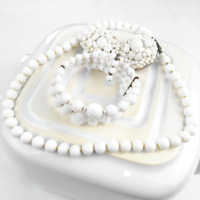 White Glass Bead Necklace Bracelet Clip On Earrings Vintage Jewellery Set