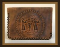 Vintage Leather Wallet/Billfold - Israel/Jewish Design - RARE!  (D515)