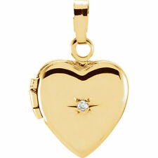 Small 14K Yellow Gold Heart Locket with Genuine Diamond Accent Charm Pendant