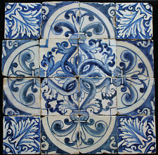 16 Portuguese handpainted antique tiles from 17th Century
