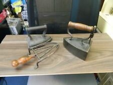 More details for two 19th century irons, one with a vintage trivet