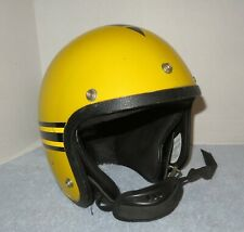 Vintage 1970's John Deere Snowmobile Helmet Yellow Black Stripes L-XL