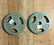 "TWO 2 NEW CAP 10LB Cast Iron Plates Barbell Weight 20LBS Total 1"" standard plate"