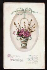 1915 emb. pussy willow basket Easter greetings postcard