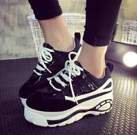 Women's Trainers Round Toe High Platform Creeper Casual  Lace Up Sneakers Shoes