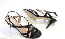 $365 Stuart Weitzman Axis Patent Slingback Strappy Heel Sandal Shoe Black 11 NEW